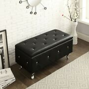 Modern Ottoman Storage Bench Bonded Leather Tufted Furniture Acrylic Legs New