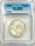1944 Australia Florin Uncirculated Mint State Icg Ms62