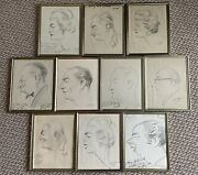 Rare - 10 Original Zito Caricatures Gifts To Mary And Woolworth Donahue Signed