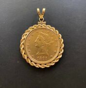 1895-p 10 Liberty Head Ten Dollar Gold Eagle Coin And 14kt Rope Bezel/pendant