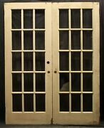 60x79 Pair Antique Vintage Old Wooden French Double Doors 30 Window Wavy Glass