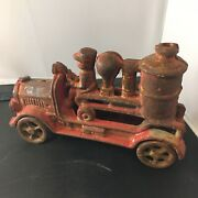 Vintage Hubley Antique Cast Iron Fire Engine Red Pumper Car Toy And Figurine