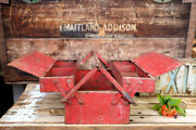 Vintage Red Metal Cantilever Fold Out Tool Storage Box Dwd