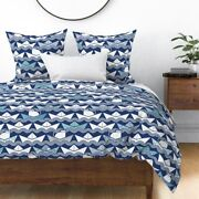 Boat White Geometric Boats Origami Cat Navy Sateen Duvet Cover By Spoonflower