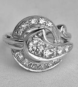 Vintage 1 Ct Diamonds And 14k White Gold Andnbspring 1940and039s Hallmarked Size 7