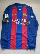 Fc Barcelona Long Sleeve Home Lionel Messi Jersey Bnwt 2016/17 Size Small