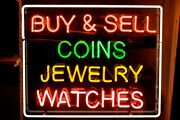 New Buy Sell Coins Jewelry Waches Eon Light Sign 24x24 Bar Lamp Decor Glass