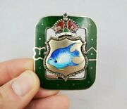 Antique British Enamel Fish With Crown On Sterling Silver Belt Buckle Excellent