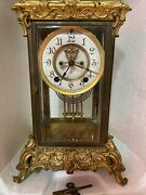 Mantle Clock Ansonia Brass And Glass Mantle Clock New York 1930 Kay Working