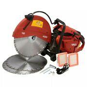 Hilti Dsh 900x 90cc 16 In. Hand Held Gas Saw With Blades