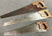 Vintage Antique Lot Of 3 Disston And Ec Atkins Crosscut Wood Handle 24 Hand Saws