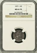 1879 Ngc Ms61 Prooflike 14000 Minted - Lowest 1874-date 10c ✅key 🔴 Seated Dime