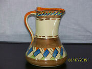 Myott And Son Co. Hand Painted Art Deco Era C1930and039s Large Pitcher