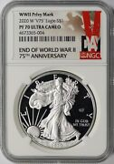 2020-w 1 Wwii Privy Mark American Silver Eagle Ngc Pf70 Ultra Cameo V75