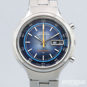Seiko 5 Sports Speed Timer 7015-8000 Original Blue Dial Vintage Watch 1972and039s