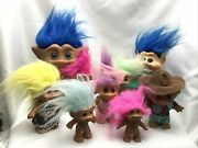 Lot Of 9 Vintage Russ/others Troll Doll Character Toy Cowboy Genie Gem B6