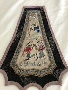 Antique Chinese Hand Embroidered Panel For Robe Or Skirt Or Frame
