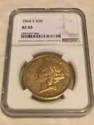 1864-s Xf45 Ngc Liberty Double Eagle 20 Gold Coin Very Nice And Sharp No Pcgs