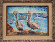 Pelicans On Shore Vintage Oil Painting By Frank Romero California Los Four
