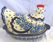 Polish Pottery Boleslawiec Unikat Blue And White Floral Hen Covered Dish 13 16a