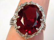 12ct Red Ruby Ring Size 7 Antique 925 Sterling Silver Filigree Usa Made