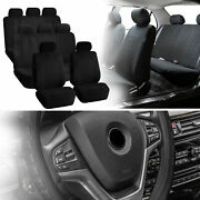 Suv 3row 8 Seats Black Seat Covers With Black Leather Steering Wheel Cover Combo