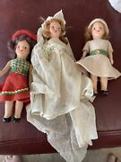 """Lot 3 Bisque Antique Dolls Wedding Dress And Felt Dresses 7"""" Jointed Arms 1920"""