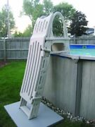 Confer 7200 Roll Guard A-frame Above Ground Swimming Pool Ladder W/ Safety Gate