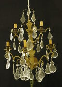 Pair Of Gilt Bronze Wall Lights With Glass Drops