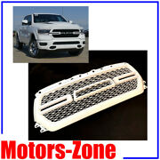 Painted White Pw7 Grill For 2019 2020 Dodge Ram 1500 Grille W/ Smoke Led Lights