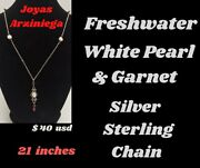 Freshwater Pearls And Garnet With Sterling Silver Chain