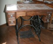Antique New Home Treadle Sewing Machine Vintage Cabinet And Treadle Tile Top
