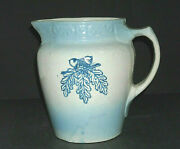 Blue And White Stoneware Stenciled Acorn Pitcher - Brush Mccoy Pottery Ohio Oh