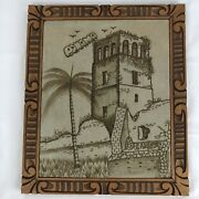 Hand Burned Leather Viejo Panama Art Carved Picture Frame Vintage 12 X 14
