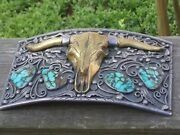 Vintage Turquoise And Sterling Buckle With Brass Longhorn- 455 Grams