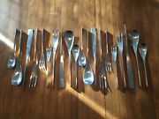Vtg. Sival Unique Denmark Mid-century Modern Stainless Flatware 25 Total Pieces
