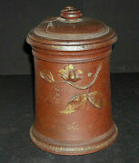 Early Sewer Tile Redware Storage Jar With Lid - Applied Decorations - Tobacco