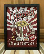 Cinema Theater Tickets Now Showing Popcorn Movie Reels Home Wall Decor Film Dvd