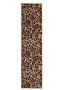 Leopard Print Runner - 2and039x8and039 Beige Contemporary Wild Theme Area Rug - 515