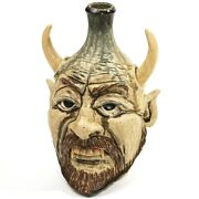 Southern Folk Art Jug Head Viking With Fangs Mckay Pottery Seagrove Nc Pottery