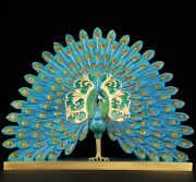 Home Decoration Copper Brass Bronze Peafowl Peacock Showing Its Tail Feathers