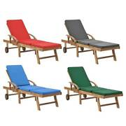 1/2x Sun Lounger Chaise Lounge Chair Wheels Daybed With Cushion Garden Furniture