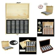Coin Capsules With Wooden Storage Box Holder Display Case Organizer Collection
