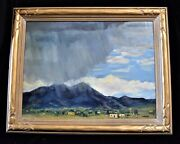 Framed Oil Painting Alfred Wands Rainstorm Mountains Southwest Adobe Homes