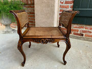 Antique French Carved Oak Vanity Bench Stool Chair Cane Seat Louis Xv Dressing