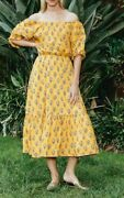 Rhode Resort Frida Printed Midi Dress Floral Off The Shoulder Yellow S Nw 204361
