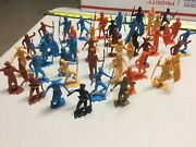 Vintage Mpc 54 Pieces Zulu Warriors And Russian Soldiers Plastic Figures
