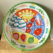 Present Tense Tickled Pink 15 Large Salad Serving Bowl - Italy - Euc