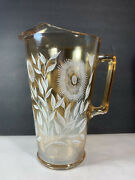 Vintage Iridescent Amber White Flowers Carnival Glass Pitcher