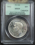 Canada 1952 Silver Dollar 1 Pcgs Ms64 424066 - Old Holder